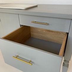 62 Screws custom grey office desk with premium solid White Oak drawers