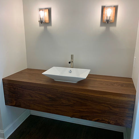 62 Screws custom walnut bathroom floating vanity and modern bathroom