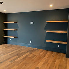 62 Screws custom White Oak floating shelves made and installed locally in Roswell, Georgia