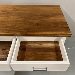 62 Screws custom two-toned Walnut kitchen island with premium Walnut drawers