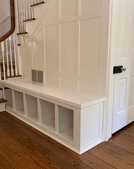 62 Screws premium custom mudroom bench built-in with cubby storage