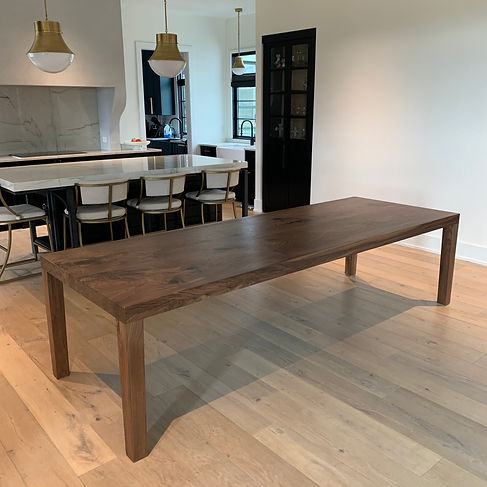 62 Screws modern Black Walnut Parson's Dining table in a new Milton modern farmhouse