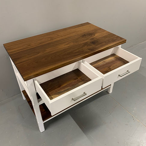 62 Screws premium custom walnut furniture and modern farmhouse two-toned kitchen island