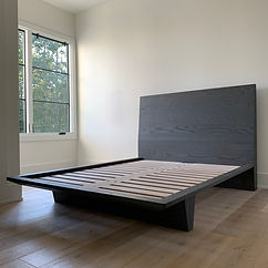 62 Screws premium custom grey modern bed frame in solid White Oak