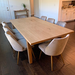 62 Screws custom mid century modern dining table in natural White Oak