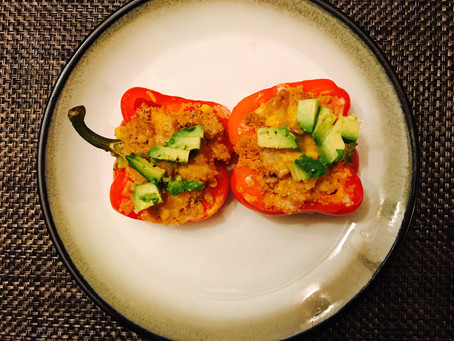 TURKEY + QUINOA STUFFED PEPPERS
