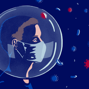 Editorial illustration for article: Truth or hoax, do masks and respirators weaken our immune system?