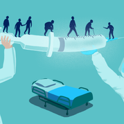 Editorial illustration for article: Truth or hoax, do we vacccinate teachers with the worst vaccine available?