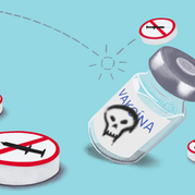 Editorial illustration for article: Truth or hoax, are vaccines made of poisonous substances?