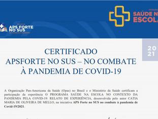 Dez trabalhos do PSE recebem prêmio APS Forte no SUS no combate à Covid-19