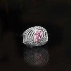 鑽石  GIA証 2克拉馬眼型粉鑽戒