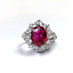 紅寶石  純白金紅寶鑽戒
