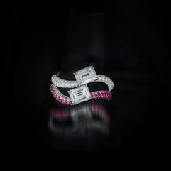 鑽石  18K白方鑽戒指