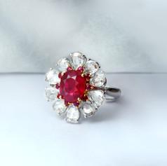 紅寶石  18K白紅寶鑽戒