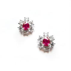 紅寶石 18K白紅寶鑽 耳環