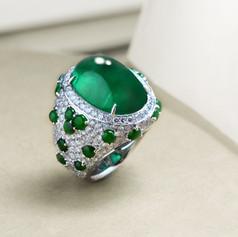祖母綠  18K白旦面 祖母綠鑽戒