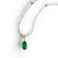 祖母綠  旦面13.77克拉 祖母綠 黃鑽項鍊