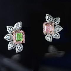 粉紅鑽 綠鑽 耳環