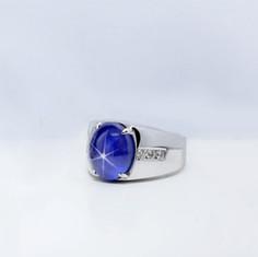 藍寶石  18K白 藍寶星石鑽戒