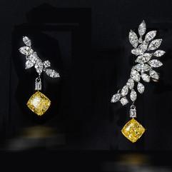鑽石  GIA証 2克拉金黃色羽翼耳環