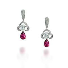 鑽石  18K白橢圓鑽 碧璽耳環