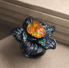 蛋白石  18K黑金墨西哥 火蛋白石彩寶戒