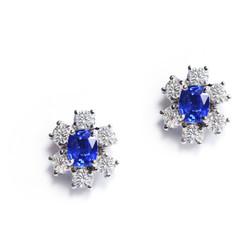 藍寶石 18K白藍寶鑽石 耳環