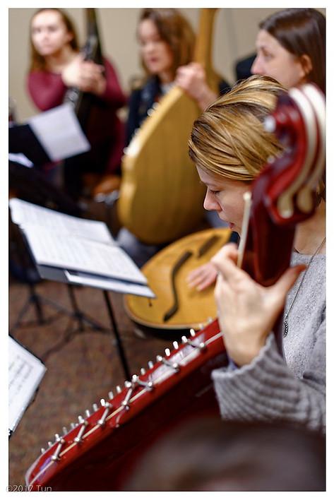 Second Soprano Motria Poshyvanyk-Caudill in rehearsal.