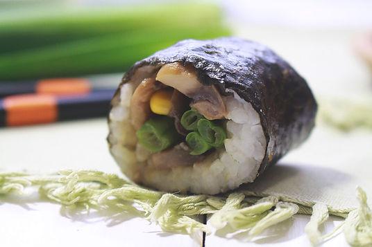 vegánske sushi, sahan donburi, vegetriánske sushi