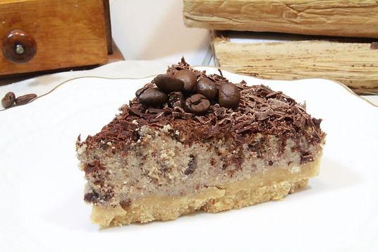 vegánsky cheesecake, bezlepkový cheesecake, kávový cheesecake,gaštanové pyré, kávový dezert, kávový koláč