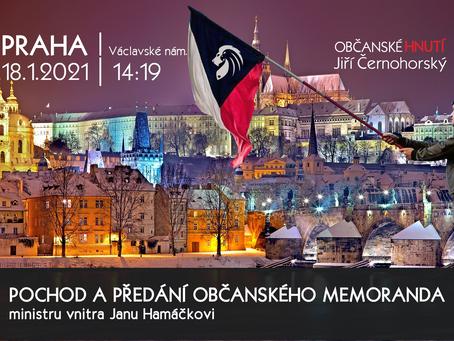 Pozvánka: Občanské memorandum ministrovi vnitra Janu Hamáčkovi! – 18. 1. 2021 od 14:19 PRAHA