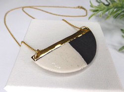 Monochrome and Gold Large Semicircle necklace