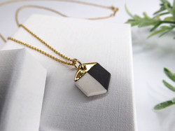 Monochrome and Gold Hexagon Necklace