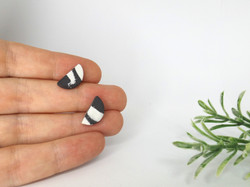 Monochrome Porcelain Stud Earrings