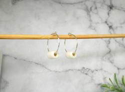 Porcelain and silver mini tube earrings.