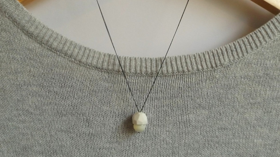 'Acorn' Mother of Pearl necklace. (Oxidised silver)