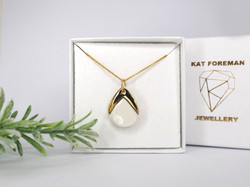 Porcelain and Gold Teardrop Necklace