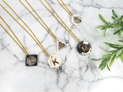 Personalised Porcelain Necklace with Gold Initial