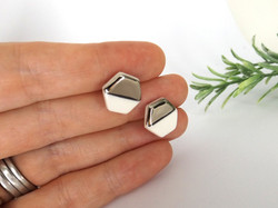 Contrast Hexagon Stud Earrings