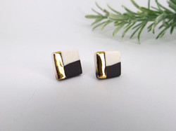 Monochrome and Gold Square Stud Earrings