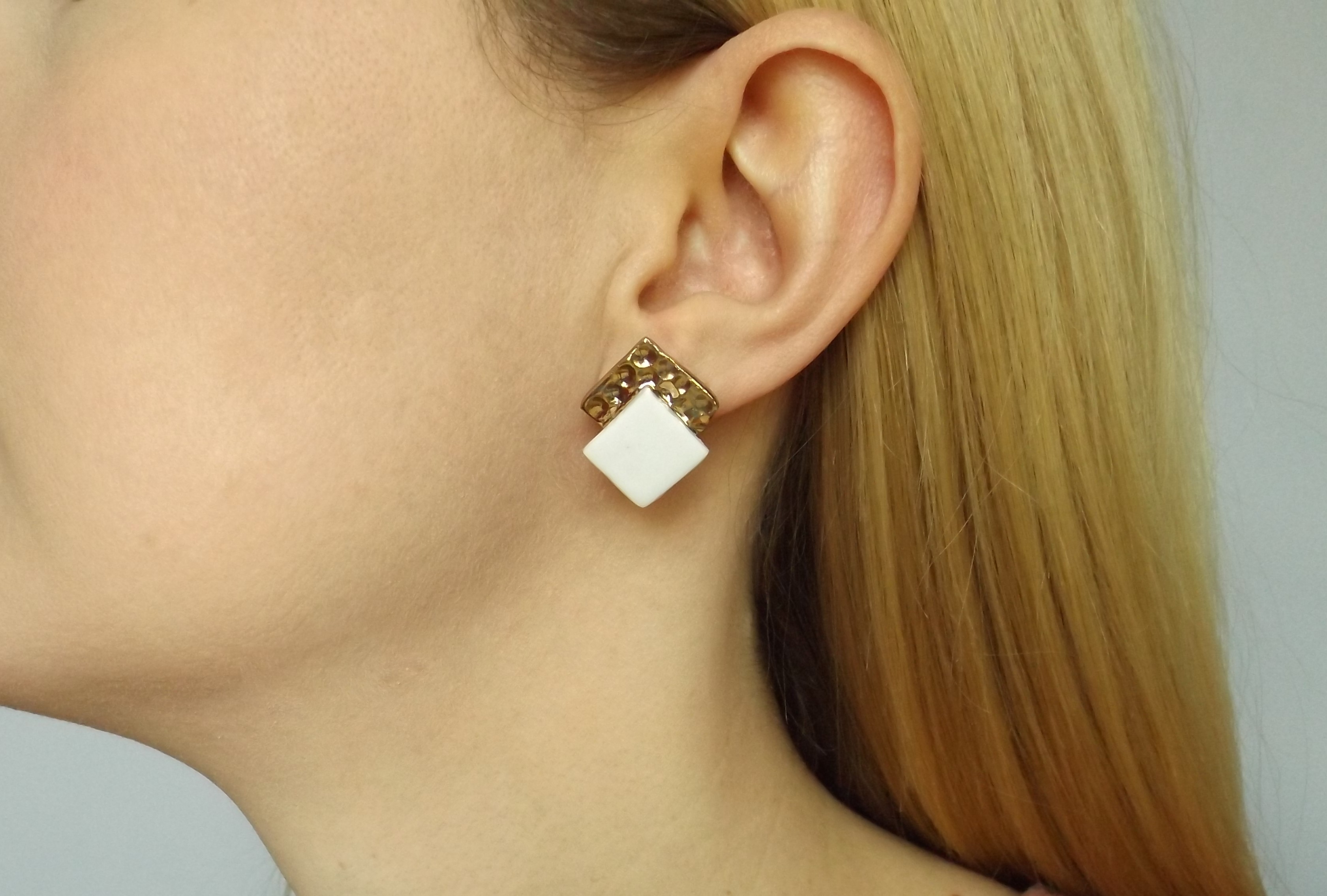 Porcelain and gold hammered square studs