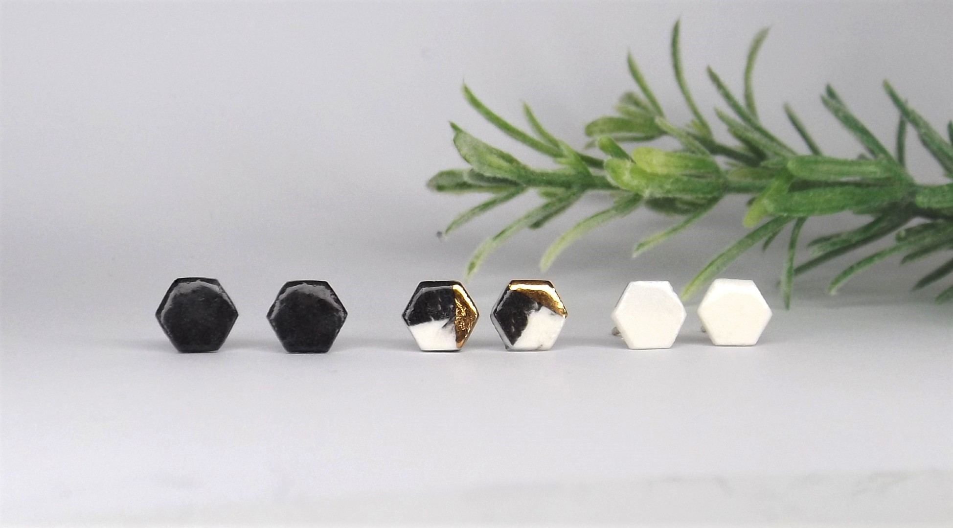 Tiny Porcelain Hexagon Studs