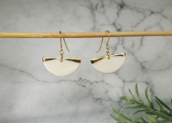 Porcelain and gold semi-circle earrings.