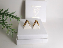 Forged Triangle Stud Earrings