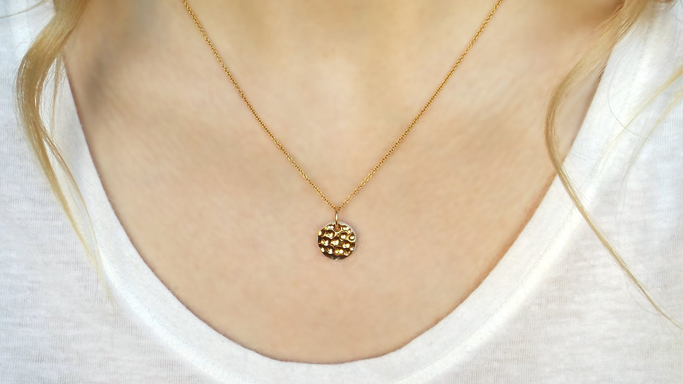 Minimalist, porcelain and gold necklace.