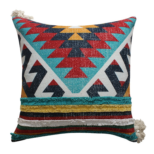 24 x 24 Handwoven Cotton Accent Pillow with Kilim Print, Multicolor