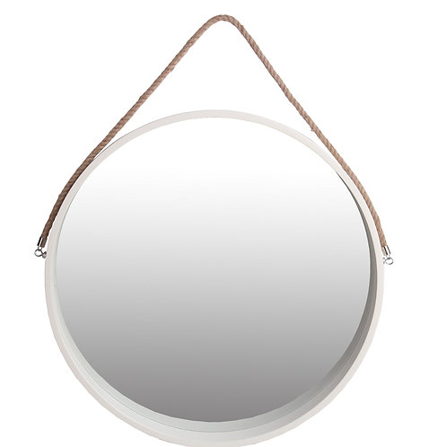 Round Wooden Frame Wall Mirror with Rope Hanger, Large, White and Brown