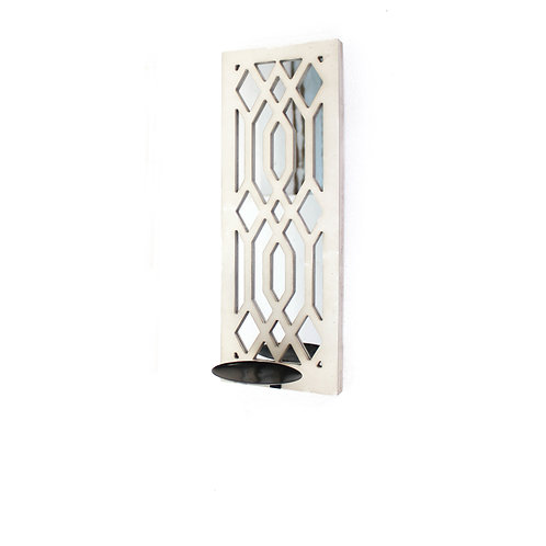 Wooden Rectangular Frame Candle Holder with Lattice Design, White