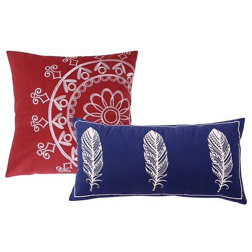 Decorative Cotton Pillows with Dream Catcher Print, Pair of 2, Red and Blue