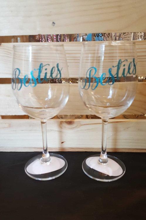 """Besties"" Wine Glass Set"